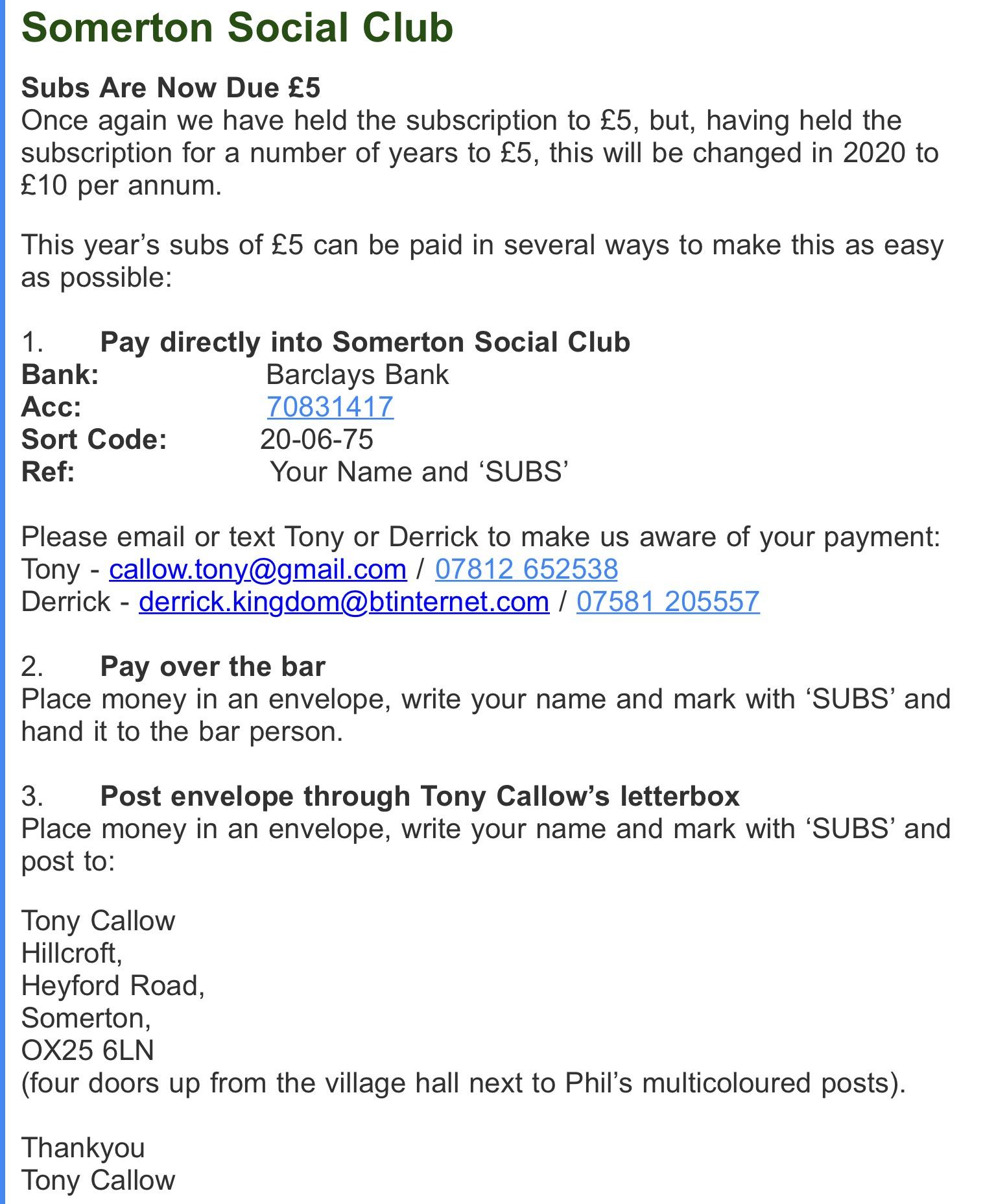 Somerton Social Club   Somerton Village Oxfordshire